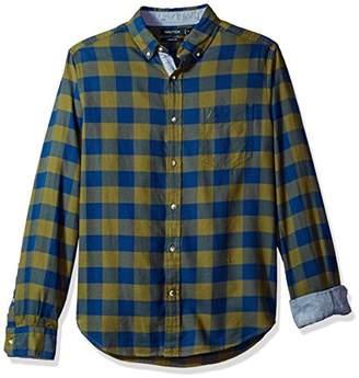 Nautica Men's Long Sleeve Buffalo Plaid Cozy Flannel Button Down Shirt