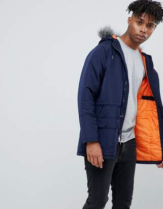 Another Influence Hooded Parka Jacket with Faux Fur Hood