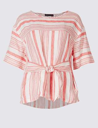 Marks and Spencer Pure Linen Striped Tie Front Blouse