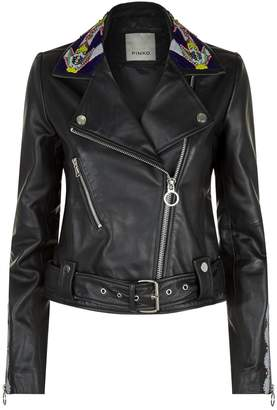 Pinko Embellished Collar Leather Jacket