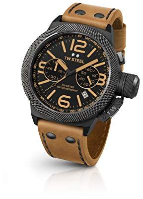 TW Steel Canteen Leather Unisex Quartz Watch with Black Dial Chronograph Display and Brown Leather Strap CS43