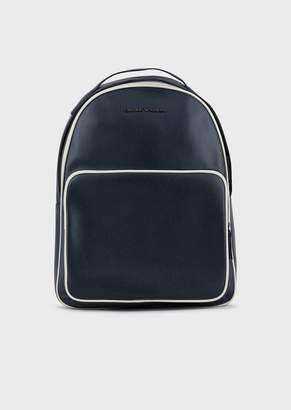 Emporio Armani Tumbled Leather Backpack With Piping