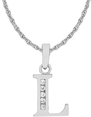 Camilla And Marc Carissima Gold 9 ct White Gold Cubic Zirconia M Initial Pendant on Chain Necklace of 46 cm/18 inch