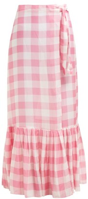 Adriana Degreas Gingham Wrap Maxi Skirt - Womens - Pink