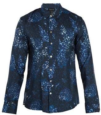 Meng - Floral Print Silk Twill Pyjama Shirt - Mens - Blue