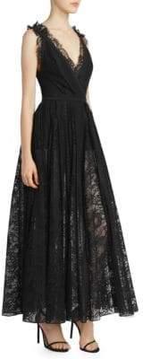 Elie Saab Women's Deep-V Lace Gown - Black - Size 42 (10)