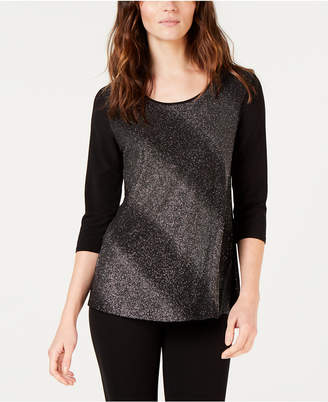NY Collection Petite Glitter Swing Top