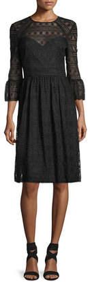 Trina Turk Lattice Lace Midi Dress w/ Trumpet Sleeves