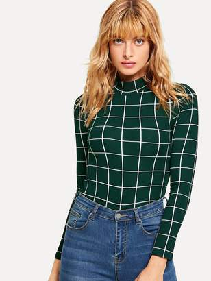 Shein Mock Neck Grid Fitted T-shirt