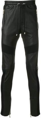 Balmain elasticated waist biker trousers