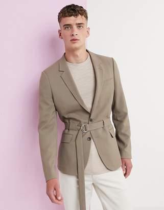 Asos Design DESIGN skinny blazer with belt in camel