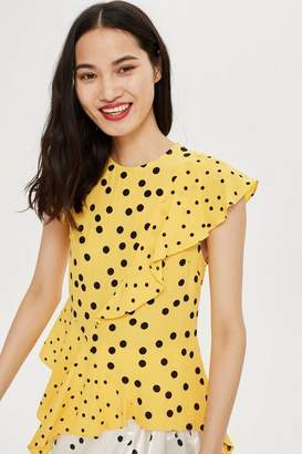 Topshop Mixed Spot Print Asymmetric Blouse