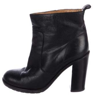 Maison Margiela Leather Round-Toe Ankle Booties