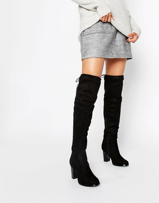 Oasis Over the Knee Heeled Boots with Lace Up Detail $98 thestylecure.com
