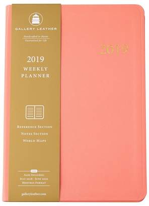 Co Gallery Leather 2019 12-Month Desk Agenda Key West Salmon