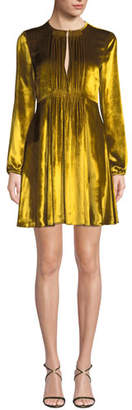 RED Valentino Liquid Velvet Pleated-Bib Long-Sleeve Dress