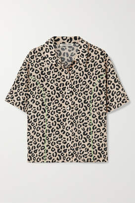 Sandy Liang Imo Leopard-print Crepe De Chine Shirt - Leopard print