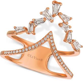 "LeVian Le Vian Baguette Frenzy Diamond Double ""V"" Ring (1/2 ct. t.w.) in 14k Rose Gold"