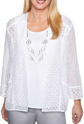 Alfred Dunner Charleston 3/4 Sleeve Two for One Woven Blouse