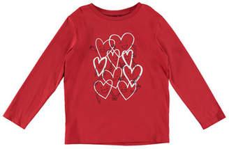 Stella McCartney Smiling Hearts Cartoon Long-Sleeve Tee, Size 4-10