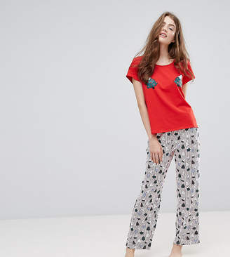 Monki Christmas Tree Print Top Stripe Pyjama Set