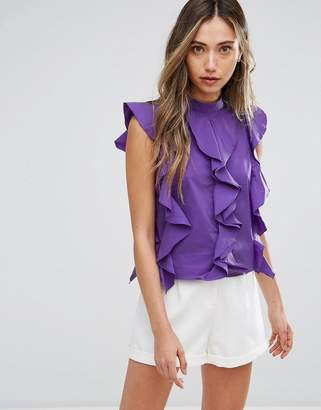 Pearl Ruffle Front High Neck Top