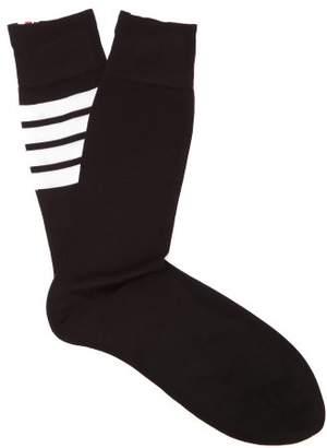 Thom Browne Intarsia Striped Cotton Socks - Mens - Black