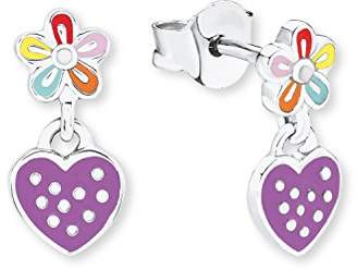 Prinzessin Lillifee Children's Heart & Flower Dangle Earrings 925 Silver Rhodium Plated with 2019694