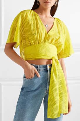 Diane von Furstenberg Cropped Devoré-voile Wrap Blouse - Bright yellow