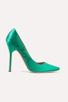 Vetements Manolo Blahnik Printed Satin Pumps - Emerald