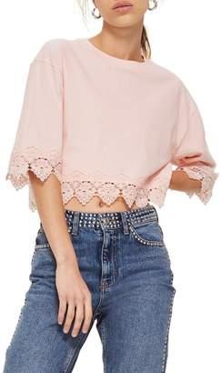 Topshop Boxy Lace Trim Top