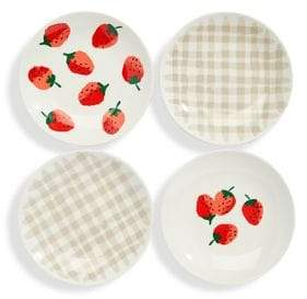 Kate Spade Set of Four Strawberry Tidbit Plates