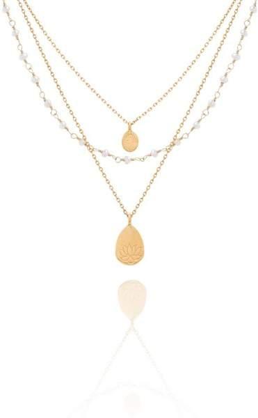 Styleserver DE Satya Halskette Baum des Lebens und Lotus vergoldet mit Perlen