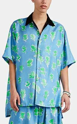 Prabal Gurung Men's Abstract-Floral Silk Twill Oversized Shirt - Blue