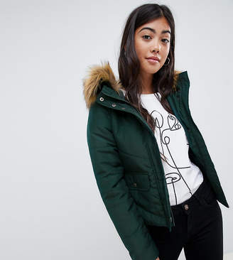 Noisy May Petite faux fur padded parka