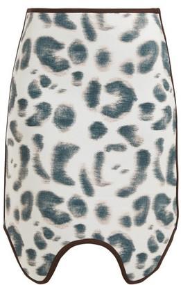 Calvin Klein Leopard Print Scuba Skirt - Womens - Pink Multi