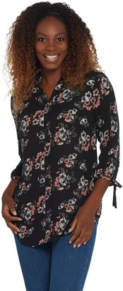 Joan Rivers Classics Collection Joan Rivers Floral Print Tunic Top with Bow Sleeves