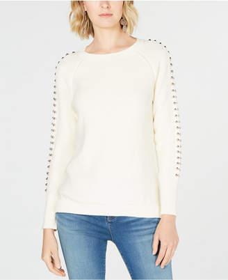 INC International Concepts I.n.c. Studded-Sleeve Sweater