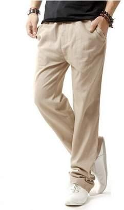 HOEREV Men's Casual Beach Trousers Linen Jean Jacket Pants