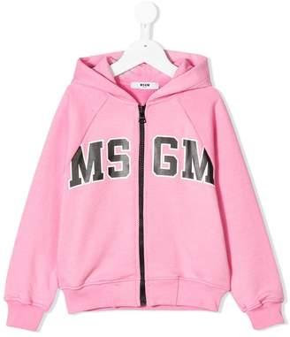 MSGM logo print zip hoodie