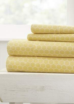 IENJOY HOME Home Spun Ultra Soft Honeycomb Pattern 3-Piece Twin Bed Sheet Set - Yellow