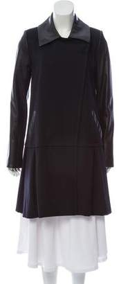 Wes Gordon Leather-Trimmed Wool Coat