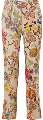 Etro Cropped Floral Brocade Straight-leg Pants - Cream