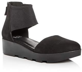 Eileen Fisher Women's Nubuck Leather d'Orsay Platform Wedge Pumps