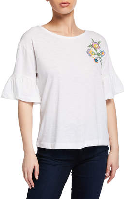 a2f340cd164a Chelsea   Theodore Floral Embroidered Ruffle-Sleeve Top