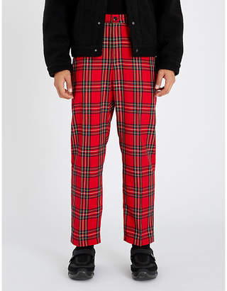 Stussy Bryan tartan-checked relaxed-fit mid-rise woven trousers