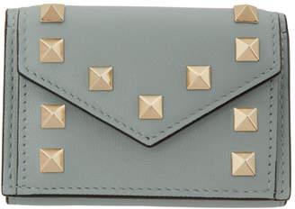 Valentino Blue Garavani Mini Rockstud Trifold Wallet