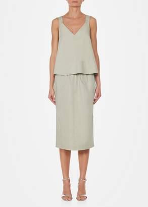 Tibi Tech Poplin Pull On Snap Skirt