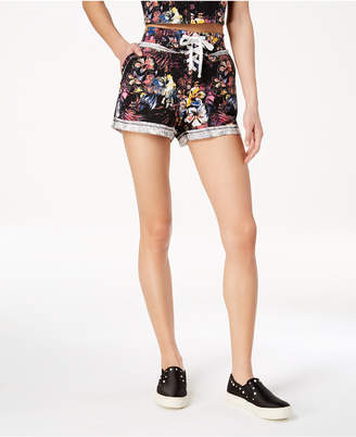 Material Girl Active Juniors' Cotton Terry Lace-Up Shorts