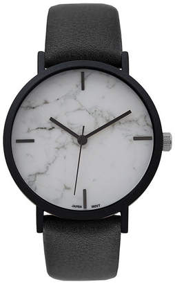 Geneva Platinum Marble Dial Womens Black Strap Watch-10090